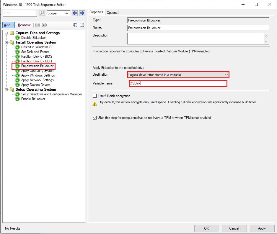 Configuration Manager Pre-Provision BitLocker